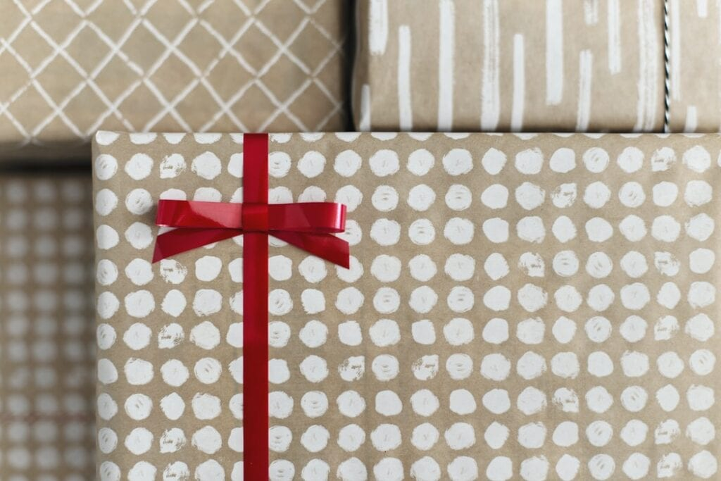 gift wrapped in red tape