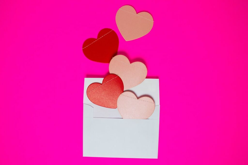 envelope with pink background