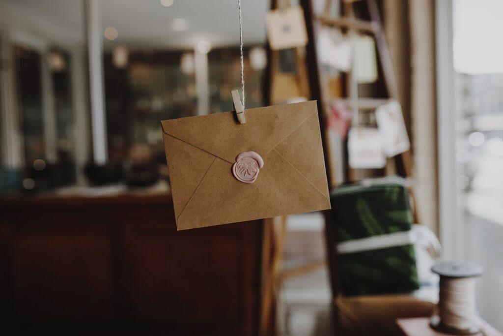 hanging envelope on rope